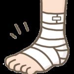 足くびに包帯を巻いている