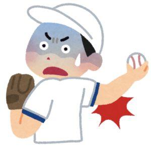 男の子が野球の投球動作時に肘を痛めている